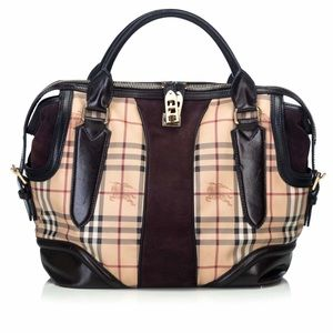 Burberry Haymarket Coated Canvas Handbag Lg Italy